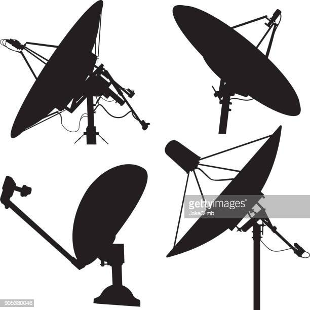 satellite dish silhouettes - receiver stock illustrations