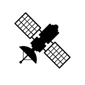 Satellite icon. Black, minimalist icon isolated on white background.