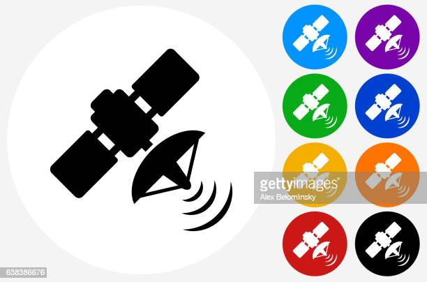 Satellite Icon on Flat Color Circle Buttons