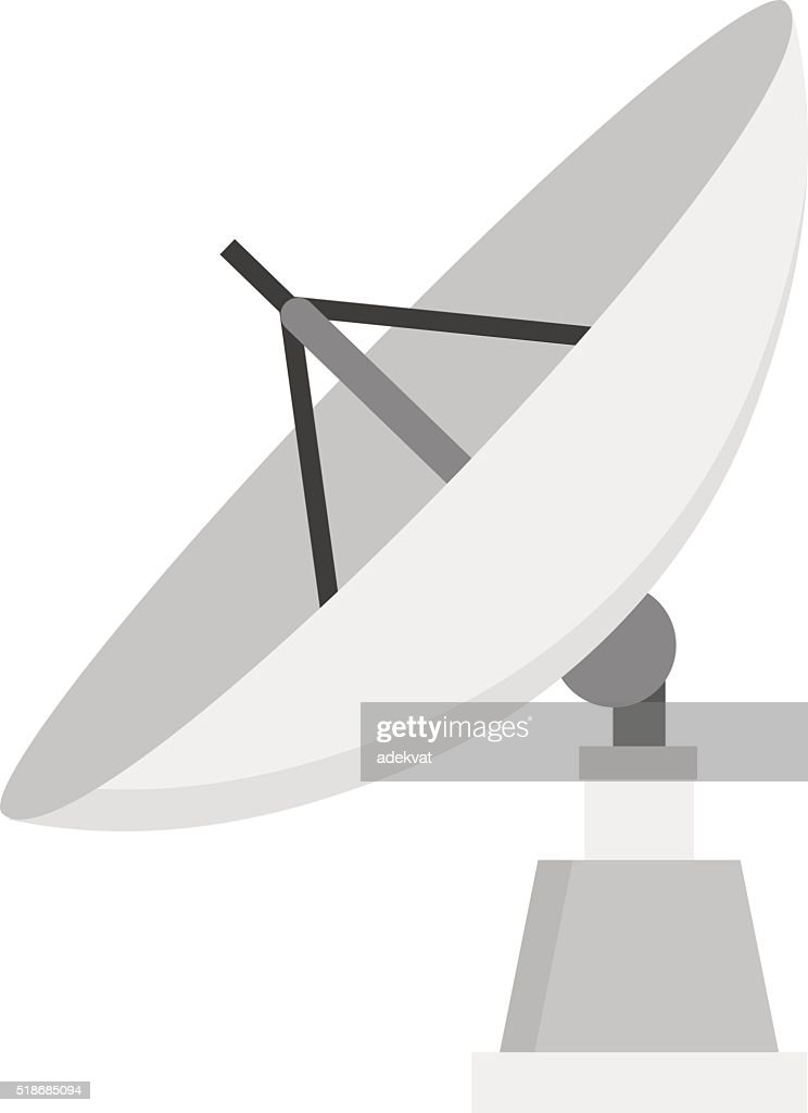 Satellite icon technology wireless space radio signal flat vector illustration