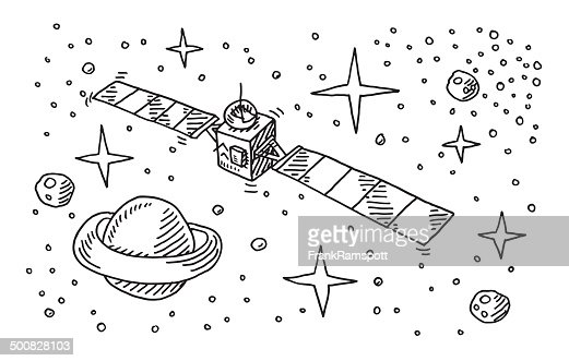 Satellite Space Stars Planet Drawing High-Res Vector