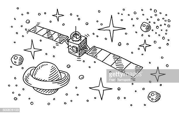 satellite raum stars planet abbildung - ausgemalte federzeichnung stock-grafiken, -clipart, -cartoons und -symbole