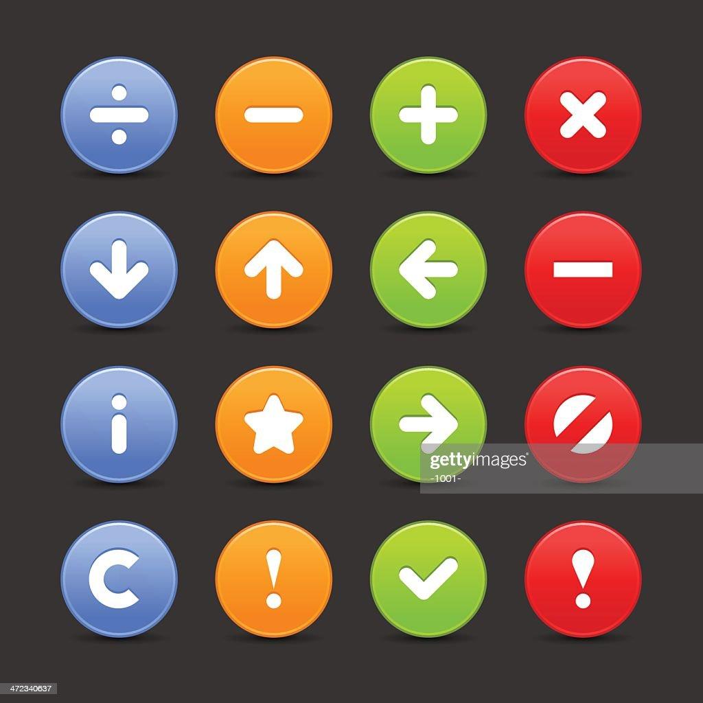 Satin icon set web internet circle button white background