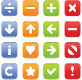 Satin icon set web internet square button white background