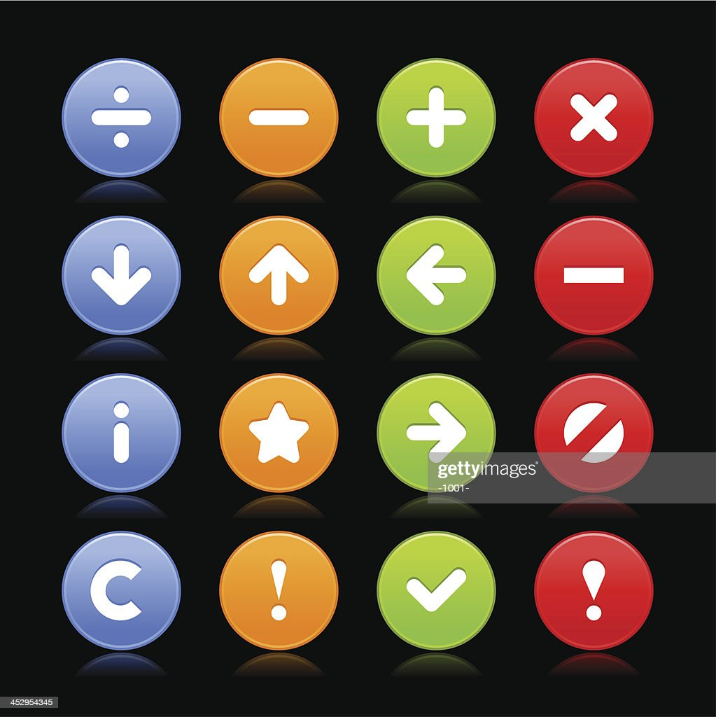 Satin icon set white sign circle button black background