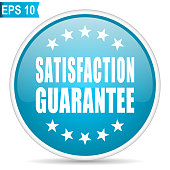 Satisfaction guarantee blue glossy round vector icon in eps 10. Editable modern design internet button on white background.