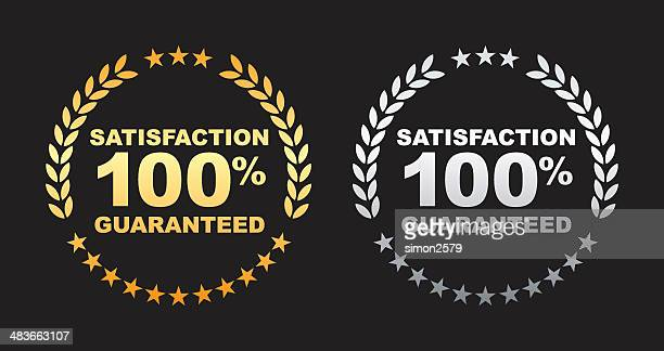satisfaction guaranteed 100% label - satisfaction stock illustrations