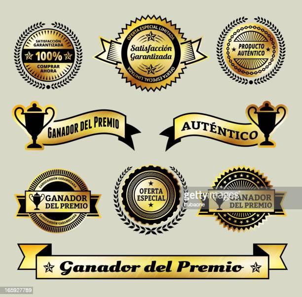 ilustrações, clipart, desenhos animados e ícones de satisfação garantida prêmio medalhas em espanhol - great seal