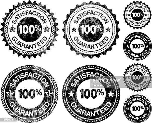 ilustrações, clipart, desenhos animados e ícones de satisfação garantida medalhas preto e branco royalty-free vector conjunto de ícones - great seal