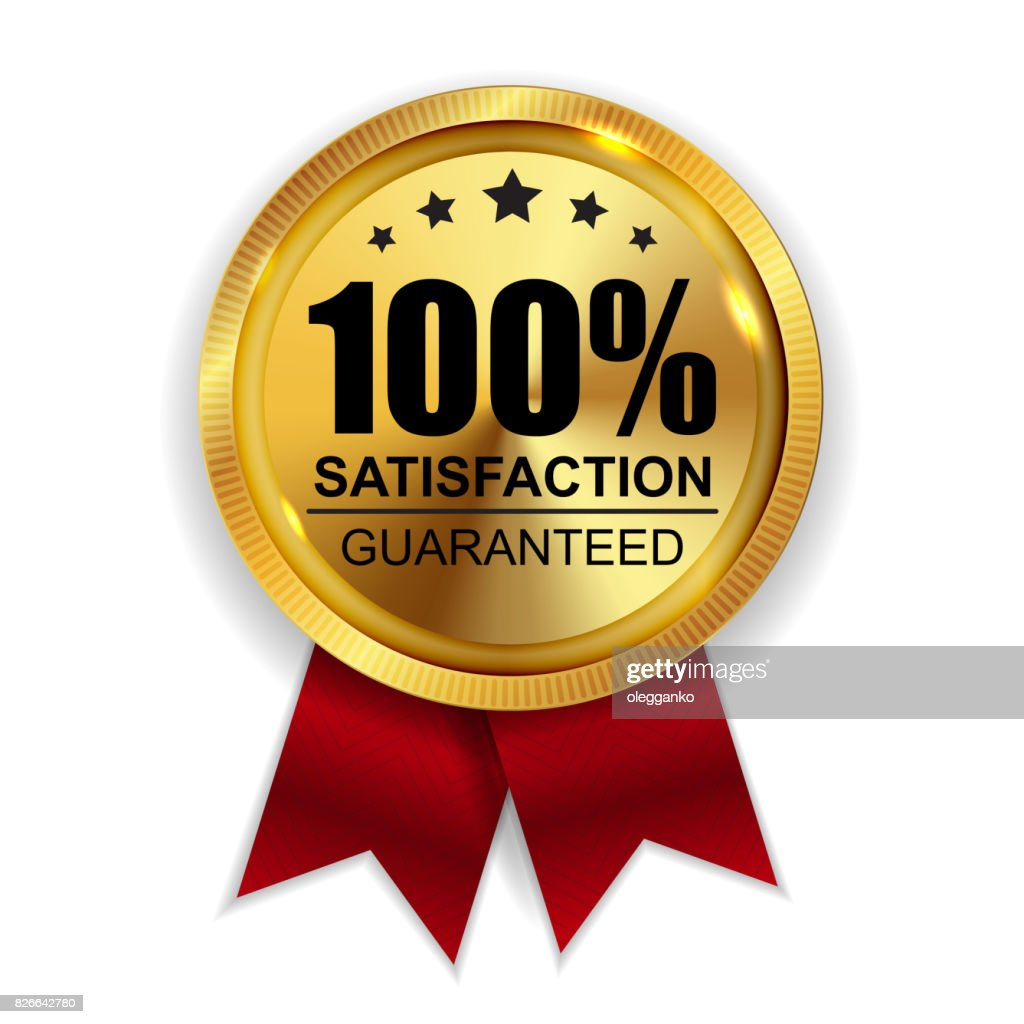 100% Satisfaction Guaranteed Golden Medal Label Icon Seal  Sig