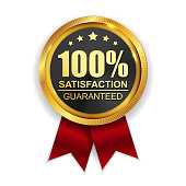 100% Satisfaction Guaranteed Golden Medal Label Icon Seal  Sig