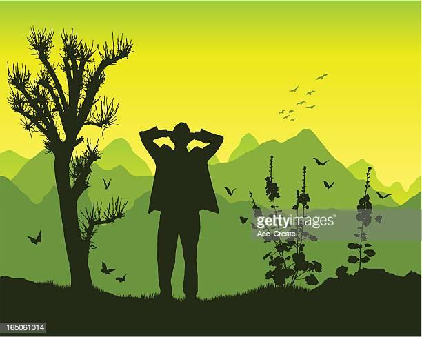 satisfaction in the mountains - glühend stock illustrations