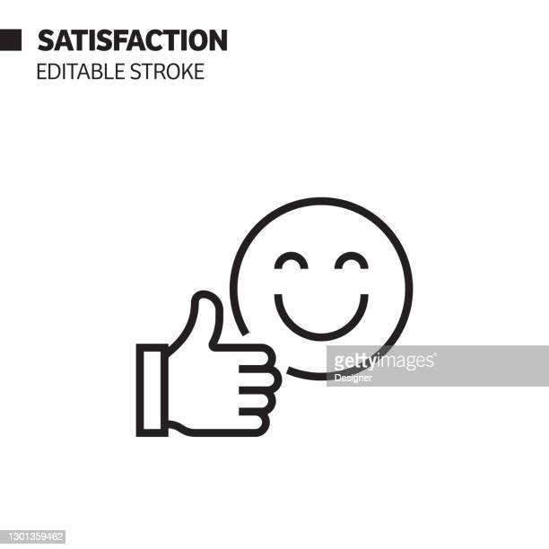 satisfaction line icon, outline vector symbol illustration. - positive emotion stock illustrations