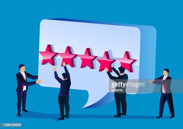 stockillustraties, clipart, cartoons en iconen met tevreden en goede klantkeuzes, zakelijke beoordelingen, consumentenbeoordelingen op de website - feedback