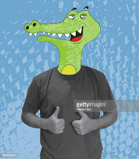 satisfied crocodile - validation stock illustrations, clip art, cartoons, & icons