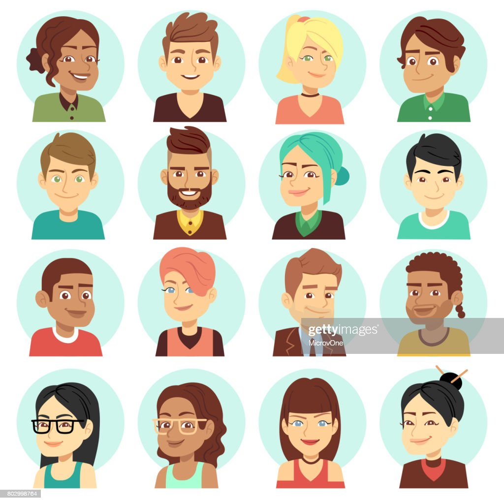 Satisfied people faces, happy laughing people portraits vector set
