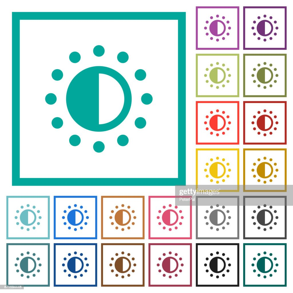 Saturation control flat color icons with quadrant frames