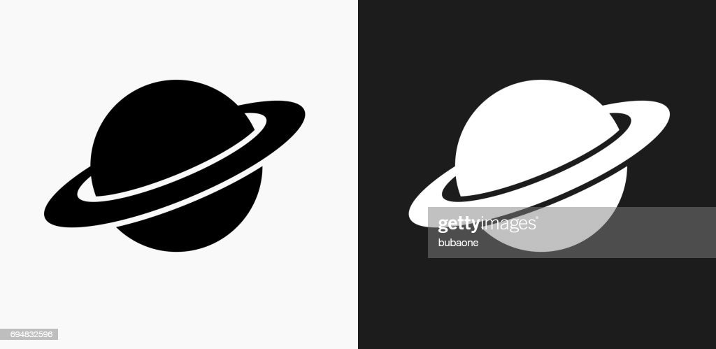 Saturn Icon on Black and White Vector Backgrounds