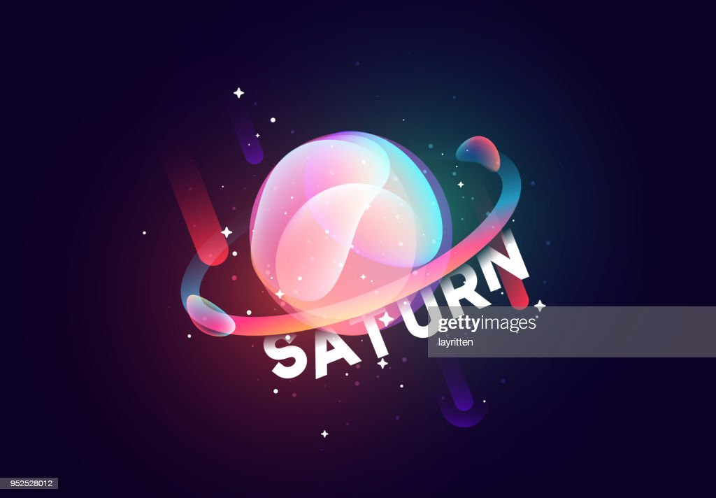 Saturn planet bright abstract illustration.