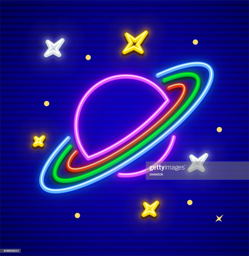 Saturn planet with rings in space neon