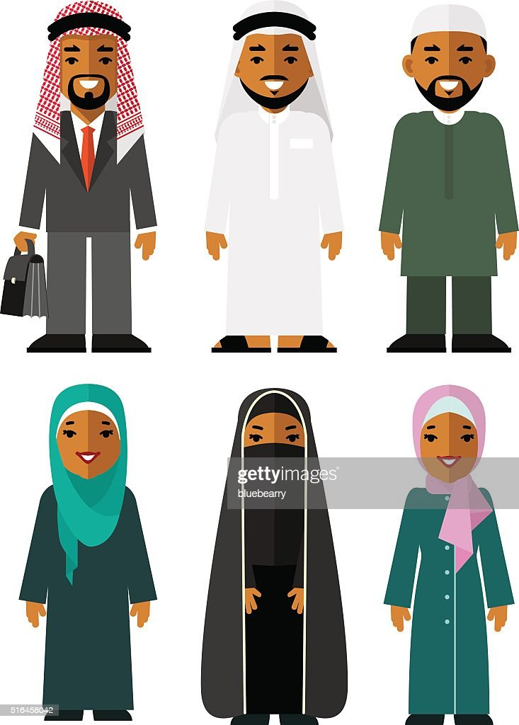 Saudi arab people characters stand set in flat style