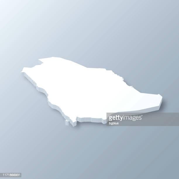 saudi arabia 3d map on gray background - saudi arabia stock illustrations
