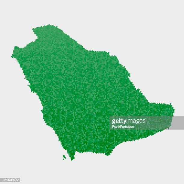 Saudi Arabien Land Map grünen Sechseck-Muster