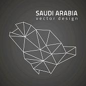 Saudi Arabia dark vector contour triangle perspective map