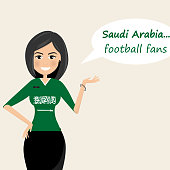 Saudi arabia football fans.Cheerful soccer fans, sports images.Young woman,Pretty girl sign.Happy fans are cheering for their team.Vector illustration