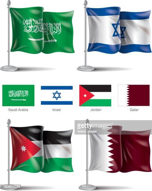 ilustrações, clipart, desenhos animados e ícones de arábia saudita, israel, jordan, ícones bandeira do qatar - qatar