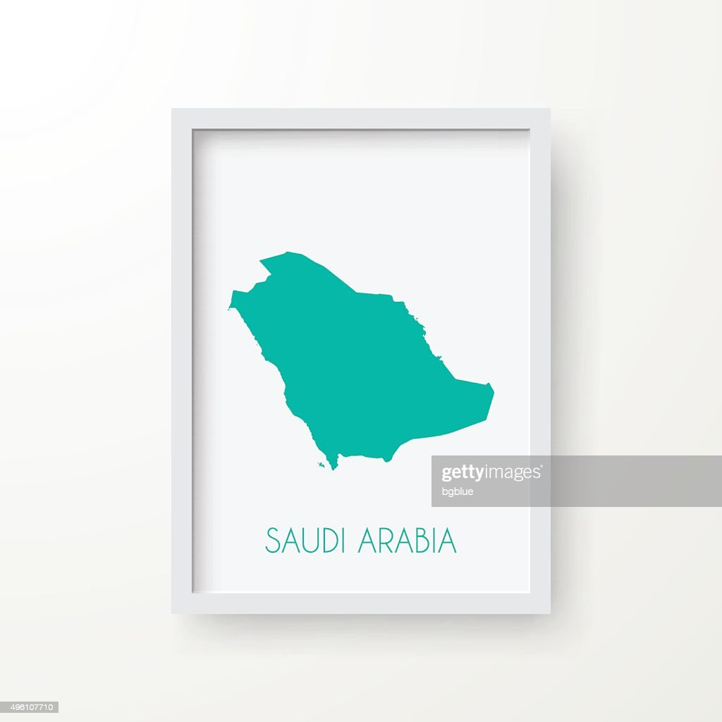 Saudi Arabia Map in Frame on White Background