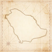 Saudi Arabia map in retro vintage style - old textured paper