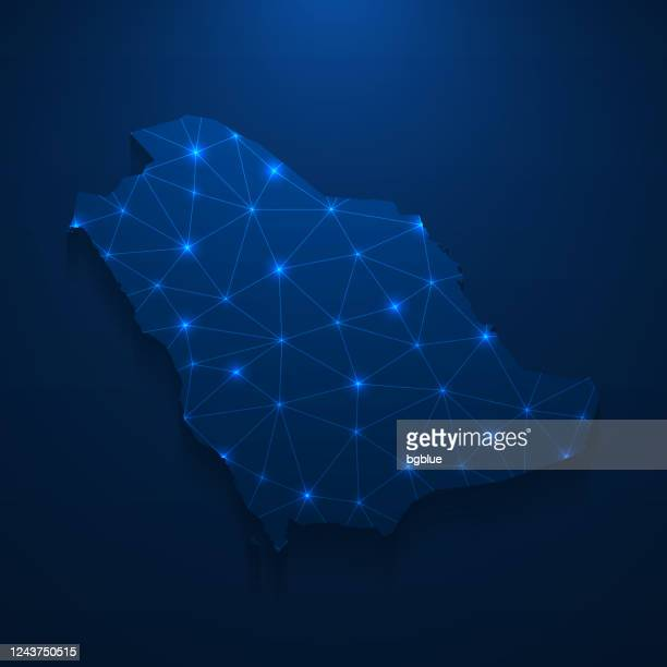 saudi arabia map network - bright mesh on dark blue background - saudi arabia stock illustrations