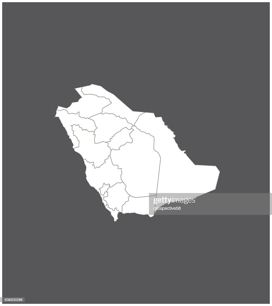 Saudi Arabia map outline vector in gray background