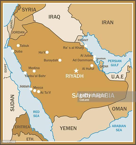 ilustrações de stock, clip art, desenhos animados e ícones de mapa da arábia saudita - qatar