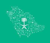 Saudi Arabia Map with Beautiful Pattern in Green