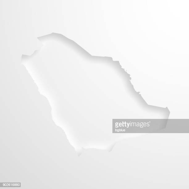 Saudi Arabia map with embossed paper effect on blank background