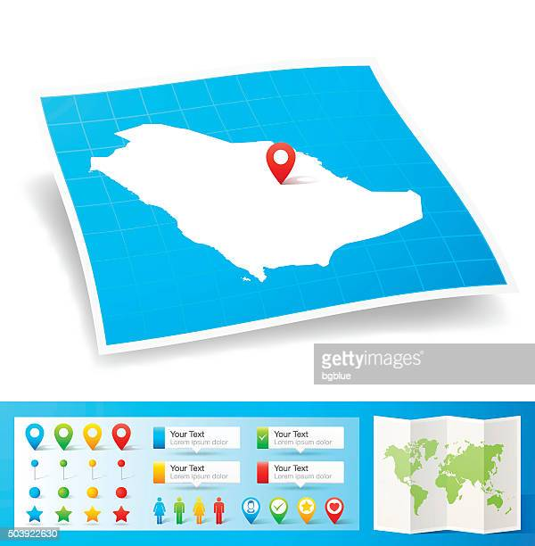 Saudi Arabia Map with location pins isolated on white Background