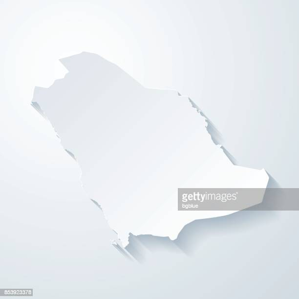 Saudi Arabia map with paper cut effect on blank background