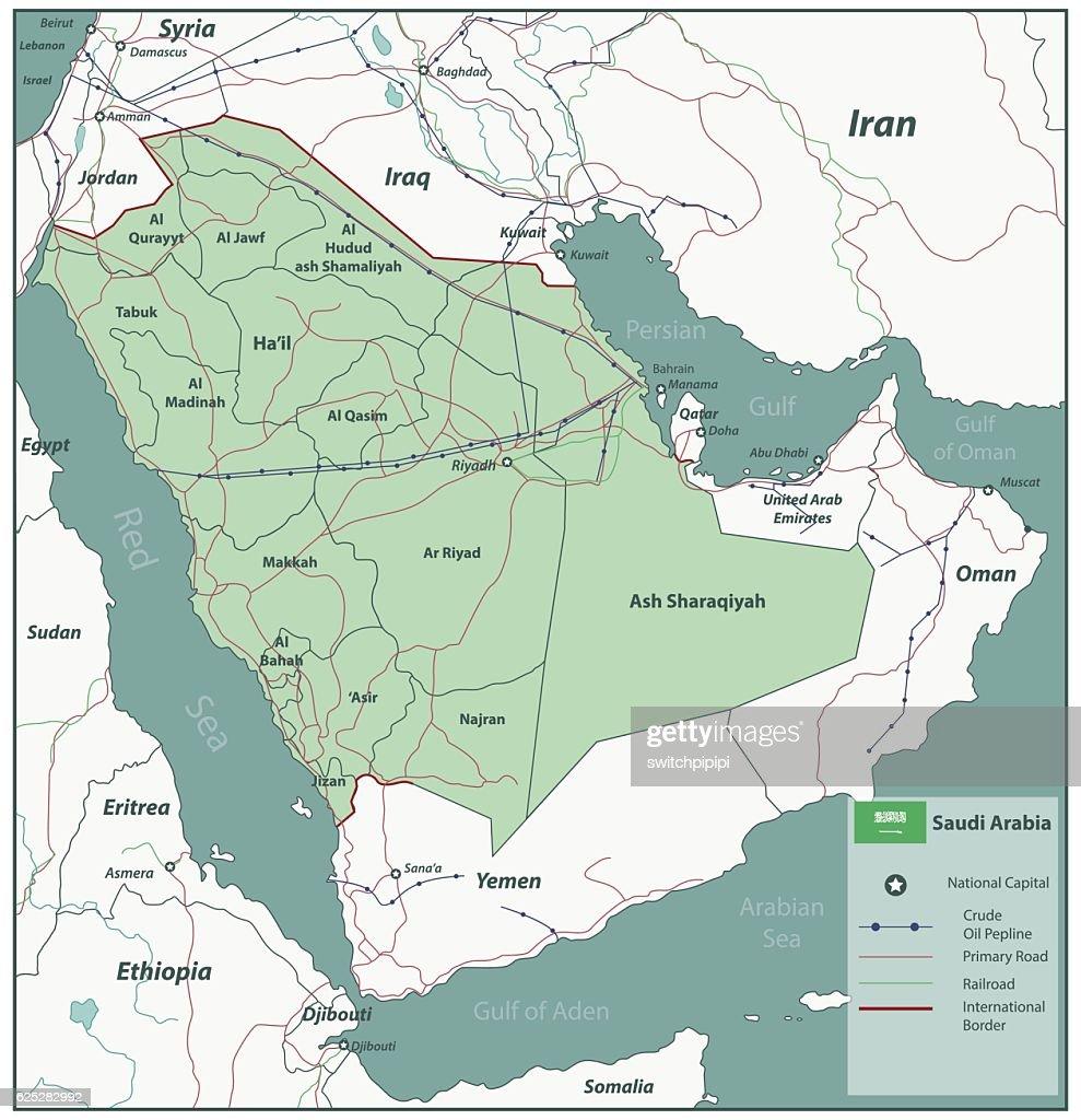 Saudi Arabia map with selectable territories. Vector