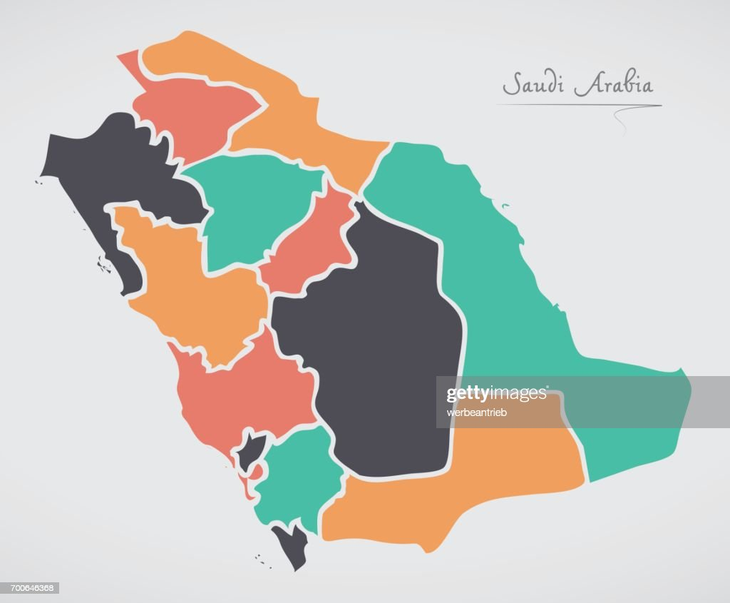 Saudi arabia map with states and modern round shapes vector art saudi arabia map with states and modern round shapes vector art gumiabroncs Image collections