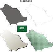 Saudi Arabia outline map set
