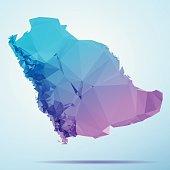 Saudi Arabia Polygon Triangle Map Blue