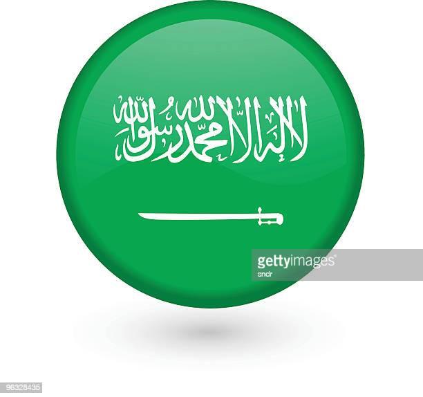 saudi arabian flag vector button - arabic script stock illustrations, clip art, cartoons, & icons