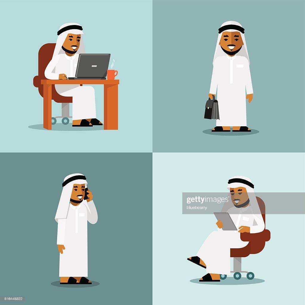 Saudi arabic businessman concept set