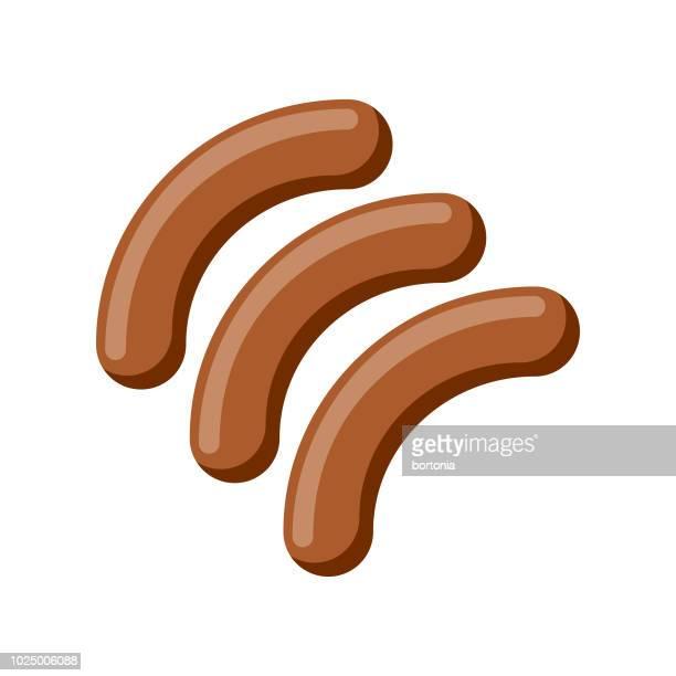 wurst-flachen design-fleisch-ikone - bratwurst stock-grafiken, -clipart, -cartoons und -symbole