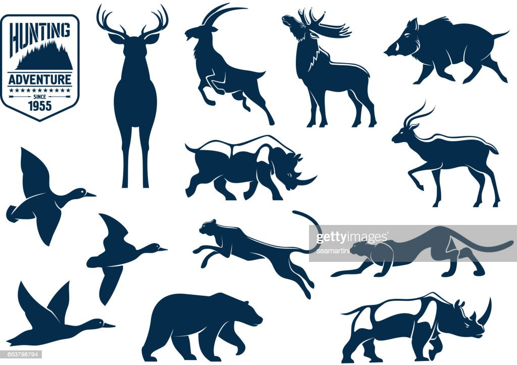 Savanna and forest animals for hunting icons