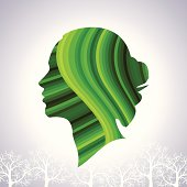 save greenery concept with woman head