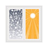 Save heat postcard, open window with snowflakes and sun backgrou
