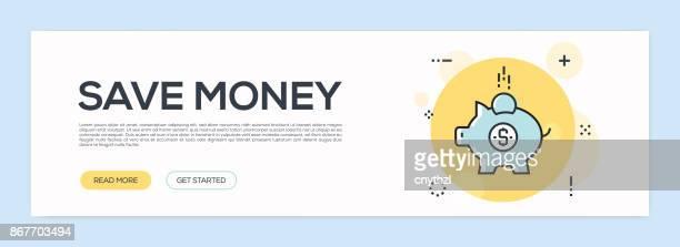 Save Money Concept - Flat Line Web Banner